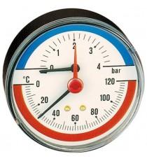 """503060 TERMOMANOMETRO ATTACCO POSTERIORE 1/2""""  0-6bar 0-120°C CALAFFI"""