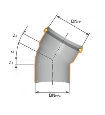 PVC-PP CURVA RID. 45° DN 100x110 o-ring  AD INNESTO SCARICO SANITARIO Nicoll Redi