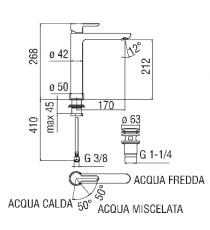 MISCELATORE LAVABO A BACINELLA CROMATO NOBILI - ABC h.212