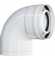 CURVA COASSIALE 90° M - F Ø60 Polipropilene (PPs) /esterno alluminio 100 PER CALDAIA A CONDENSAZIONE