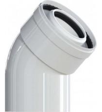 CURVA COASSIALE 45° M - F Ø60 Polipropilene (PPs) /esterno alluminio 100 PER CALDAIA A CONDENSAZIONE