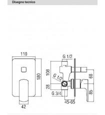 NOBILI - MISCELATORE DOCCIA INCASSO CON DEVIATORE SERIE ACQUAVIVA CROMO VV103100CR