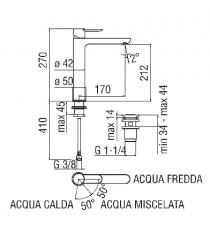 MISCELATORE LAVABO A BACINELLA CROMATO NOBILI - SAND h.212