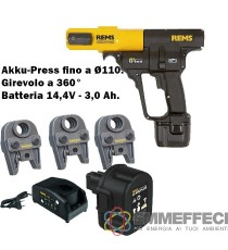 SET PRESSATRICE A BATTERIA REMS CON 3 GANASCIE TH 16 - 20 - 26 AKKU-PRESS ACC BASIC-PACK CON RITORNO AUTOMATICO