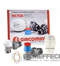 R470A Kit riqualificazione energetica radiatore 1/2, con valvola, detentore e testa termostatica