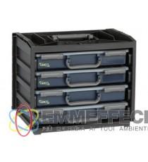 Contenitore portatile per portaminuteria con 4 portautensili LxPxh 376x265x310 mm ABC
